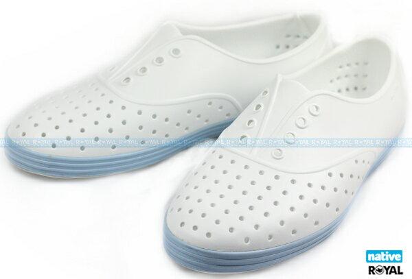 Native 新竹皇家 JERICHO 白/藍 輕量 懶人鞋 女款 NO.I7095