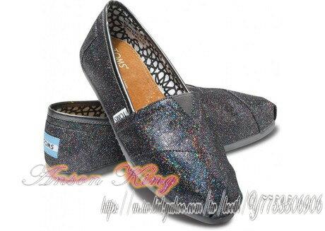 [女款] 國外代購TOMS 帆布鞋/懶人鞋/休閒鞋/至尊鞋 亮片系列  黑七彩
