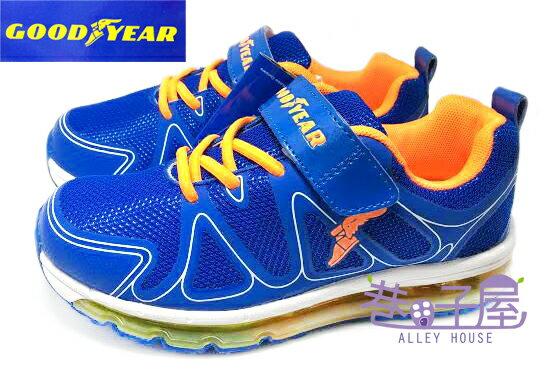 【巷子屋】GOODYEAR固特異 男童穩定避震全氣墊運動慢跑鞋 [48703] 藍桔 超值價$590