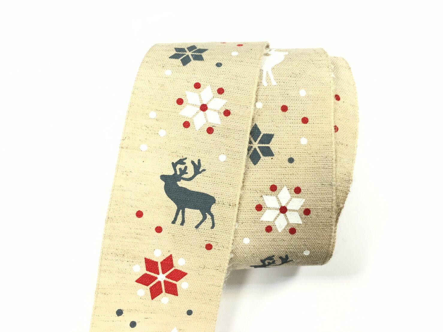 雪花麋鹿棉麻緞帶22mm3碼裝 1