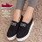 格子舖*【AS1558】*限時特價*極簡素面百搭實穿 鬆緊好穿脫 4.5CM厚底帆布鞋 懶人鞋 2色 0