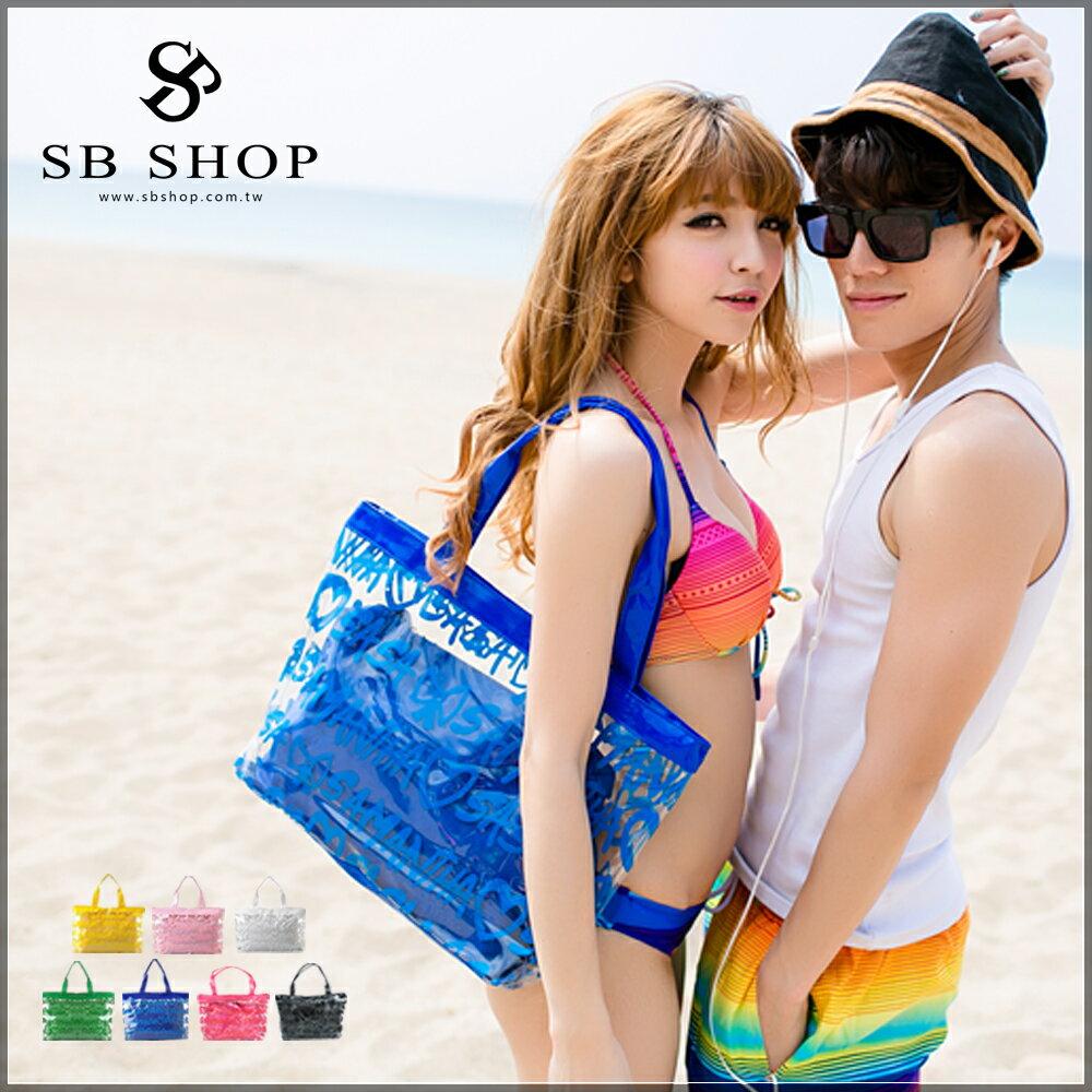 SB SHOP【VIVI 雜誌款 果凍包 6色】玩水必備 比基尼 數字 防水包 海灘包 沙灘包 螢光包