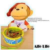 【aife life】兒童雙面玩具鼓(附一對鼓棒)/打擊樂器腰鼓扁鼓太鼓歡樂鼓打鼓大鼓中鼓小鼓爵士鼓