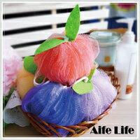 【aife life】蘋果沐浴球/掛繩提繩設計方便吊掛手搓泡泡浴刷背去角質沐浴球 洗浴球