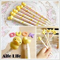【aife life】0.5mm黃色小鴨原子筆/極細原子筆 小鴨造型筆 中性筆 油性筆 造型原子筆 創意可愛書寫文具