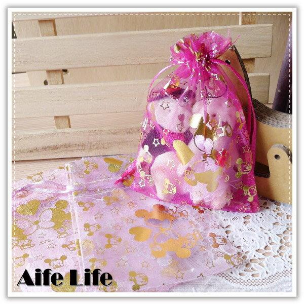 【aife life】迪士尼燙金紗袋-14x10cm/正版授權迪士尼/束口袋/DIY婚禮小物包裝首飾袋糖果袋禮品袋