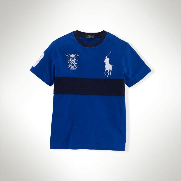 美國百分百【Ralph Lauren】T恤 男 RL 短袖 上衣 T-shirt Polo 大馬 徽章 寶藍 XS S號 F232