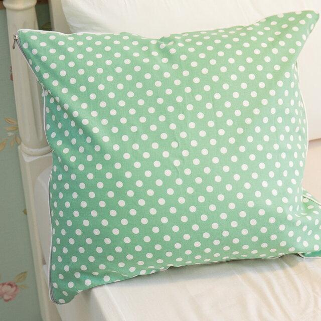 青草綠點點抱枕 45cmx45cm 素材 復古 純棉 ~  好康折扣