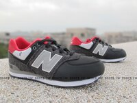 New Balance 美國慢跑鞋/跑步鞋推薦Shoestw【KL574FWG】NEW BALANCE 復古慢跑鞋 黑紅 灰毛毯 大童鞋 NB574 女生可穿