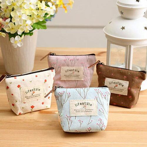 零錢包韓國碎花麻布小物包(粉紅、米、藍、咖啡)-JC Collection