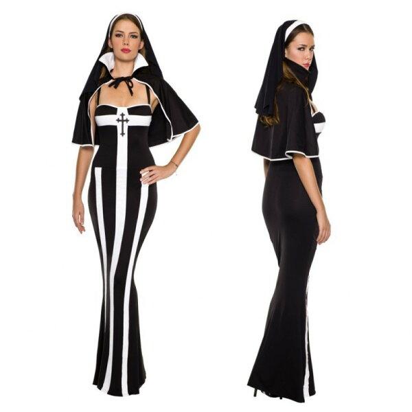 特色性感修女服長裙halloween角色扮演萬聖節cosplay舞會派對