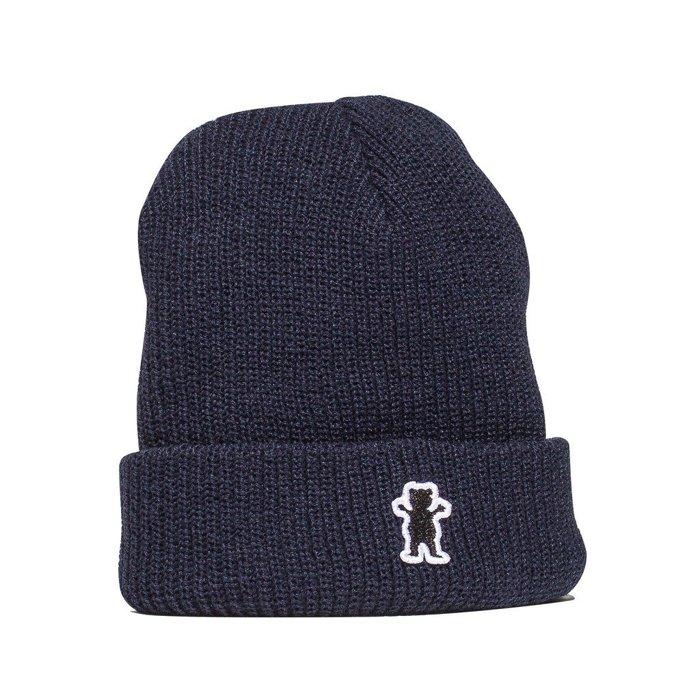 BEETLE GRIZZLY GRIPTAPE OG BEAR BEANIE 深藍 小熊 素面 反摺 針織帽 毛帽 - 限時優惠好康折扣