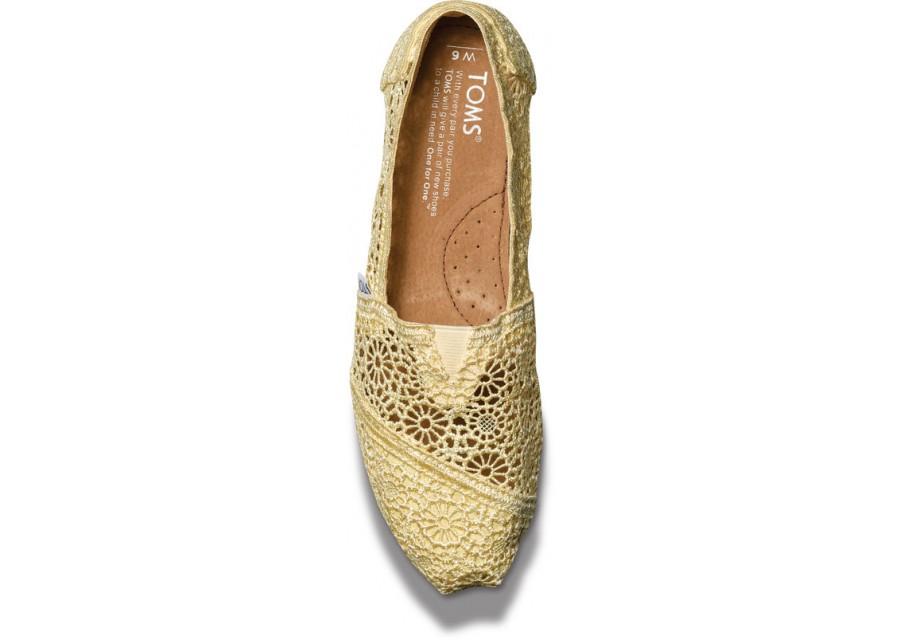 [Anson king]國外代購TOMS 帆布鞋/懶人鞋/休閒鞋/至尊鞋 蕾絲系列  黃色 女款 3