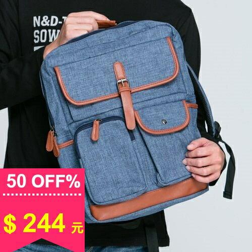後背包-厚料簡約多口袋百搭厚背包 包飾衣院 X609 現貨