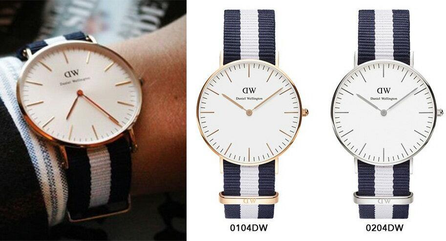 瑞典正品代購 Daniel Wellington 0104DW 玫瑰金 尼龍 帆布錶帶 手錶腕錶 40MM 1