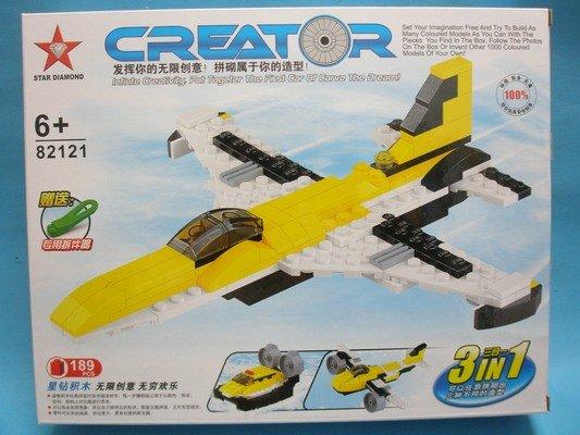 星鑽積木82121 飛機三合一積木 飛行系列 189片入/一盒入{促450}-跟樂高一樣好玩!!