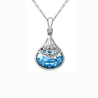 925純銀項鍊 水晶吊墜~鑲鑽奢華璀璨高貴大方母親節情人節生日 女飾品銀飾4色73aj15