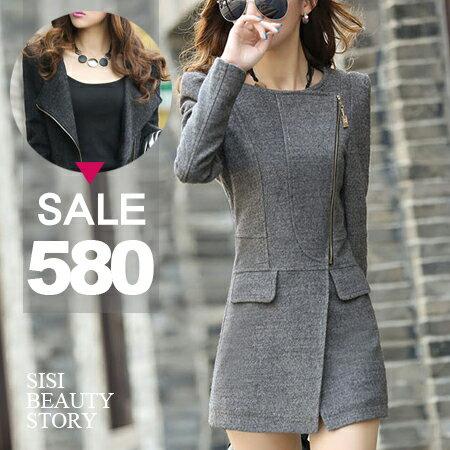 SISI【C6002】氣質優雅 韓版圓領翻領顯瘦羊毛呢大衣毛料西裝保暖外套