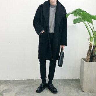 風衣外套中長版毛呢大衣-純色翻領英倫時尚男外套73ip20【獨家進口】【米蘭精品】
