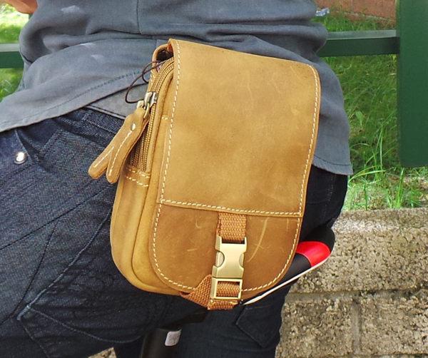真皮手機腰包~休閒復古瘋馬皮 安全扣 相機包 手機袋 5^~7吋 多層夾 掛包 收納包 真