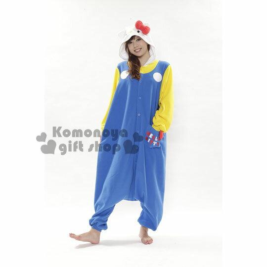 〔小禮堂〕Hello Kitty 角色絨毛居家服~藍.紅蝴蝶結.連身. ~入 天保暖好夥伴