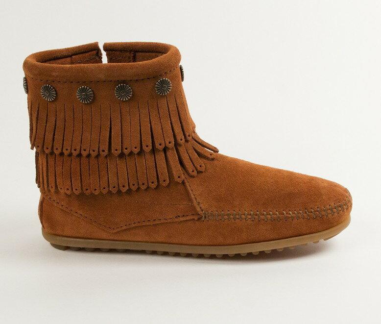 【Minnetonka 莫卡辛】棕色 - 雙層麂皮流蘇踝靴 2
