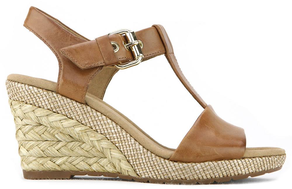 Gabor 修身輕躍 時尚金屬扣飾楔型涼鞋 濃咖啡 2
