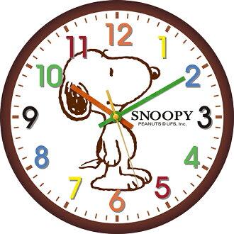 【SNOOPY】史努比彩色貼字掛鐘(咖啡)SC294