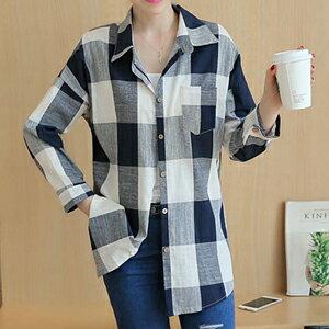 韓版寬鬆格纹長袖上衣