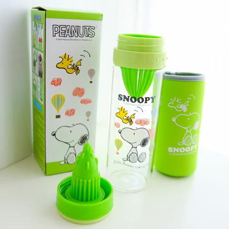 正版史奴比樂優蔬果榨汁養生瓶 檸檬水杯 隨身瓶 榨汁 玻璃檸檬杯 玻璃瓶 Snoopy 史奴比 【B061158】