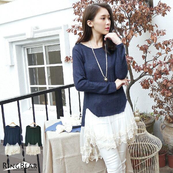 蕾絲--浪漫甜美拼接復古風格蕾絲花邊針織衫(黑.藍XL-5L)-A211眼圈熊中大尺碼