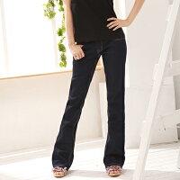 牛仔/丹寧服飾到顯瘦--無法抵擋的強烈激瘦感-完美比例低腰深藍色小喇叭牛仔褲(S-7L)-G510眼圈熊中大尺碼