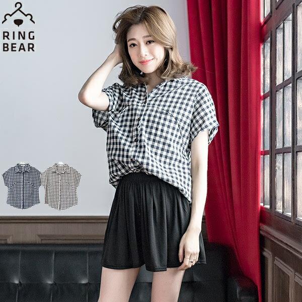 格紋--陽光女孩質感木扣特殊設計長版襯衫(咖.藍XL-5L)-H170眼圈熊中大尺碼