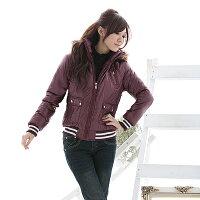 保暖服飾推薦鋪棉外套--冬天的基本必備款-PU亮面連帽條紋縮口鋪棉外套(黑.紫M-2L)-J46眼圈熊中大尺碼