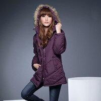 保暖服飾推薦鋪綿外套--風格獨具的百搭單品-霧面毛邊連帽斜紋鋪綿長大衣(黑.紫)-J71眼圈熊中大尺碼