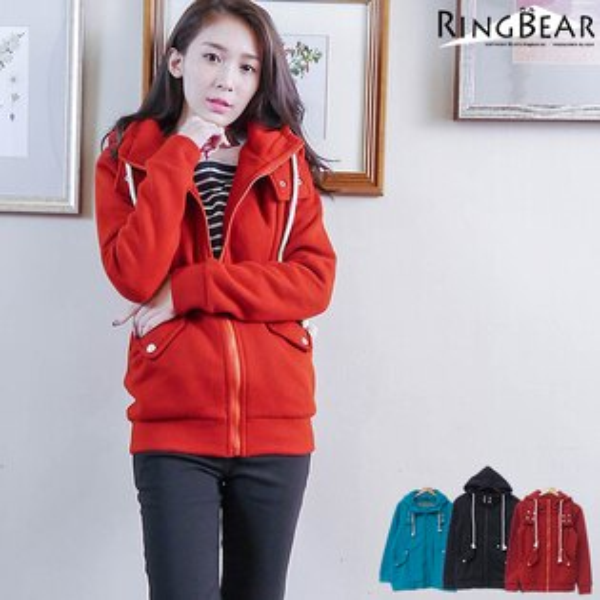 大衣--溫暖滿分造型環扣大口袋連帽內刷毛外套(黑.紅.綠XL-5L)-J222眼圈熊中大尺碼