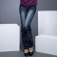 牛仔/丹寧服飾到牛仔褲--激瘦!完美曲線定番-勻染藍刷白鬼爪痕假腰帶中腰直筒牛仔褲(S-6L)-N29眼圈熊中大尺碼