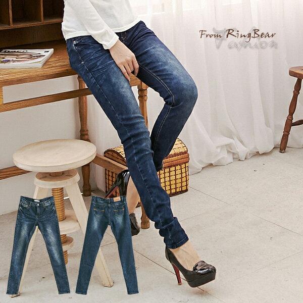 牛仔褲--長腿曲線貓抓痕刷色口袋橘紅弧型車線窄管牛仔長褲(M-7L)-N67眼圈熊中大尺碼