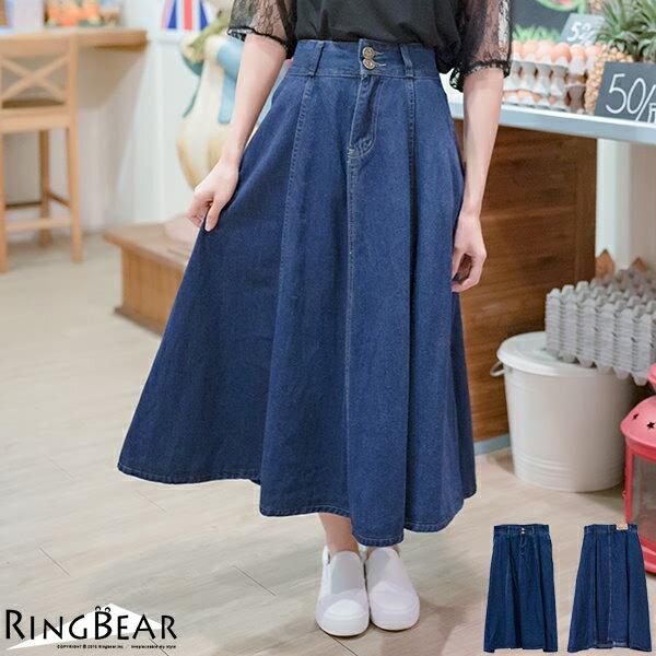 牛仔裙--修身顯瘦復古高腰雙排扣八片式大擺學院風牛仔長裙(藍XL-7L)-Q68眼圈熊中大尺碼