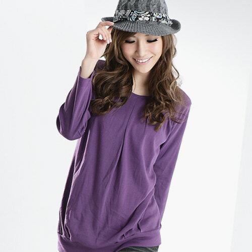 長版上衣--極簡嫻靜新形象-壓折圓領長版上衣(桃.紫.藍.黑S-XL)-U80眼圈熊中大尺碼