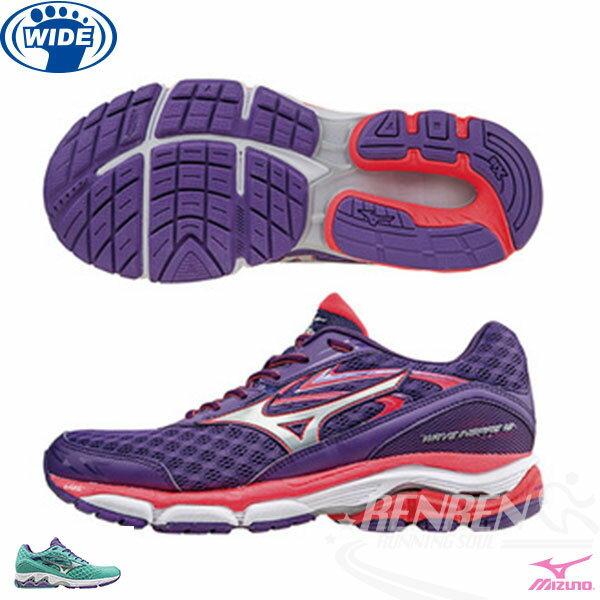 MIZUNO 美津濃  WAVE INSPIRE 12(W) 女寬楦慢跑鞋 (紫*銀)暢銷支撐型鞋款