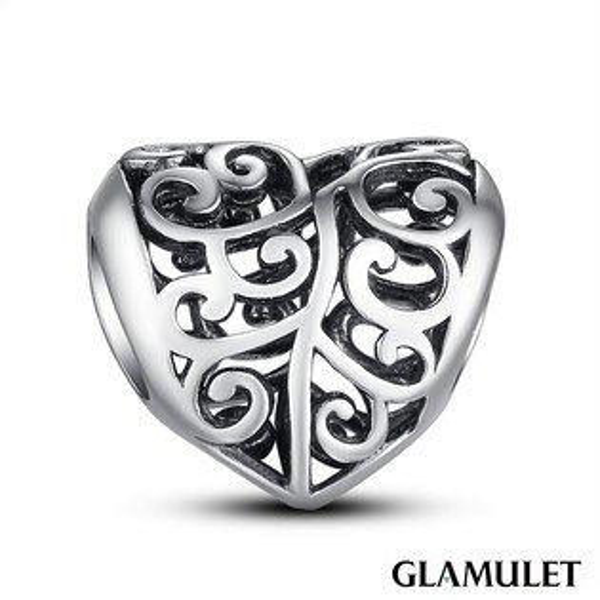 Glamulet格魅麗鏤空925純銀愛心 charm