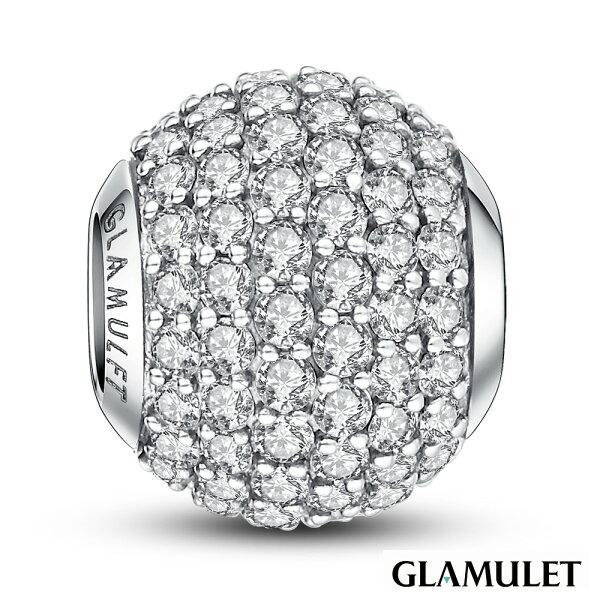 Glamulet格魅麗925純銀水晶手環手鏈串珠吊飾復古白金色滿鑲鑽石charms歐潘朵拉通用
