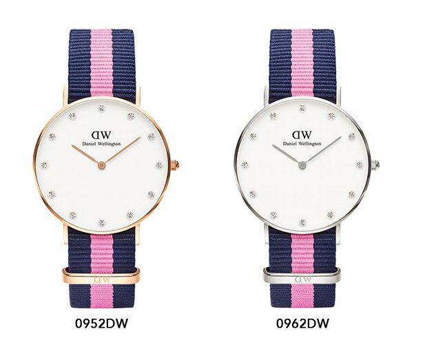 瑞典正品代購 Daniel Wellington 0962DW 銀 玫瑰金 尼龍 帆布錶帶 女錶手錶腕錶 36MM 1