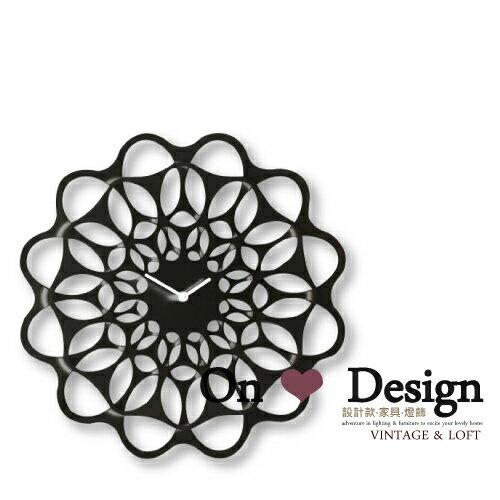 On ♥ Design ❀義大利 Diamantini The & Clock 雙層花輪 金屬壁鐘 掛鐘 全黑 (複刻版)
