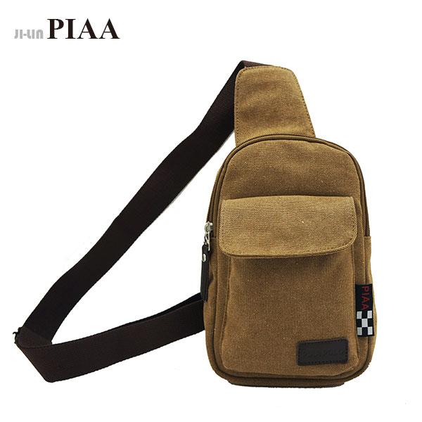 85-8030《PIAA 皮亞》咖啡色帆布小單肩胸背包