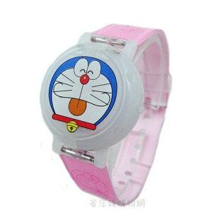 《省您錢購物網》全新~哆啦A夢Doraemon 小叮噹圓形掀蓋式電子錶-粉紅色*2支