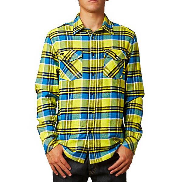 Fox黃藍方格紋長袖襯衫