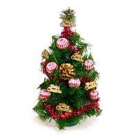 聖誕節禮物推薦台灣製迷你1呎/1尺(30cm)裝飾聖誕樹(金松果糖果球色系)(本島免運費)YS-GT10002