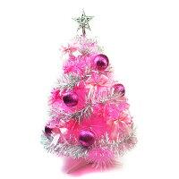 聖誕節禮物推薦台灣製2尺(60cm)特級粉紅色松針葉聖誕樹 (銀紫色系配件)(不含燈) (本島免運費)
